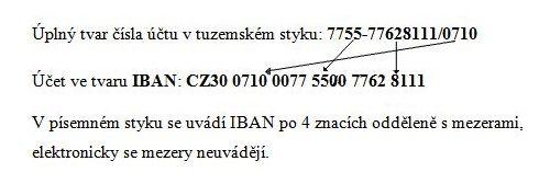 Struktura mezinárdních čísel bankovních účtů tzv. IBAN