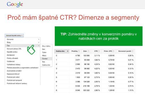 Proč má špatné CTR? Dimenze  a segmenty