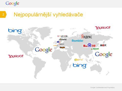Mapa světa se jmény nejrozšířenějších internetových vyhledávačů