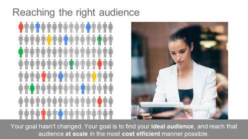Cíl je pořád stejný - dostst informaci k maximu potenciálních zákazníků u nichž je nejpravděpodobnější konverze - provedení nákupu našeho zboží či služeb.