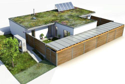 Vizualizace energeticky soběstačného rodinného domu se 4 pokoji. Zdroj: NyrdenCore