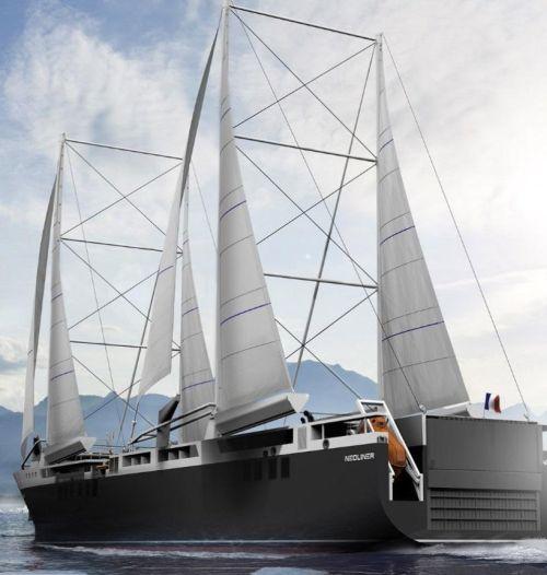 Vizualizace plachetnice firmy Neoline. Má mít rychlost 11 uzlů, což odpovídá rychlosti 20 kilometrů za hodinu, autor: Neoline