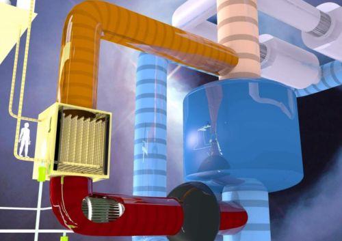 Berlínský tým vědců si nechal patentovat nový typ reaktoru, který využívá dvě kapaliny. Jako palivo roztavené soli, pro chlazení roztavené olovo. Foto: dual-fluid-reaktor.de
