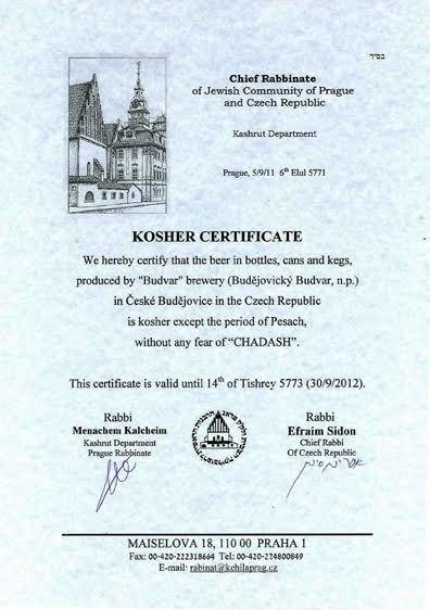Košer pivo. Ukázka košer certifikátu, který na vývoz svého piva získal Budějovický Budvar.