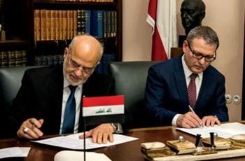 Foto ministra zahraničí Lubomíra Zaorálka a jeho iráckého protějšku Ibráhíma Džaafarího