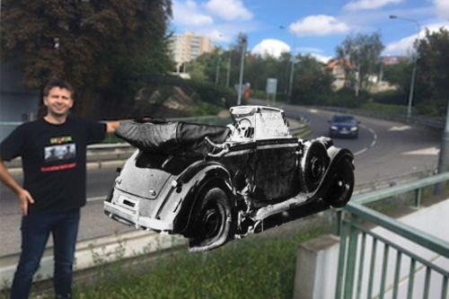 auto veteran silnice clovek