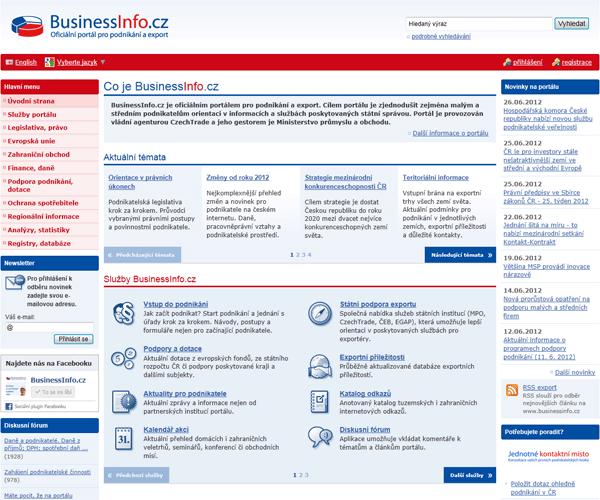 Původní podoba portálu BusinessInfo.cz