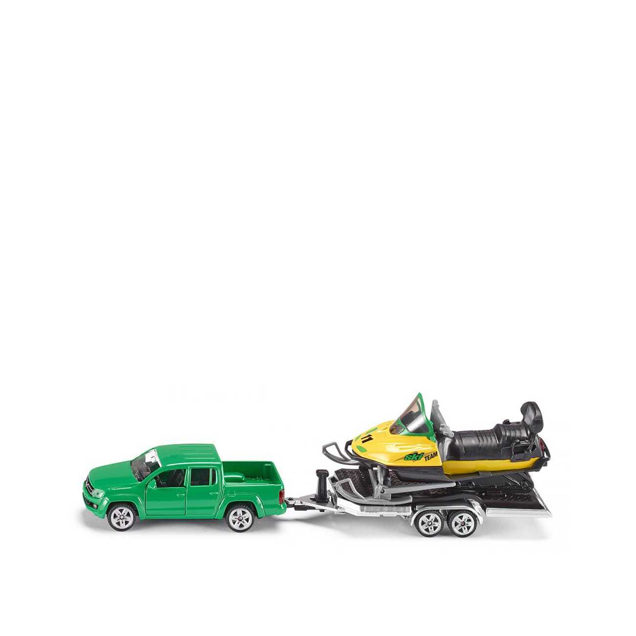 CAR WITH TRAILER AND SNOWMOBILE