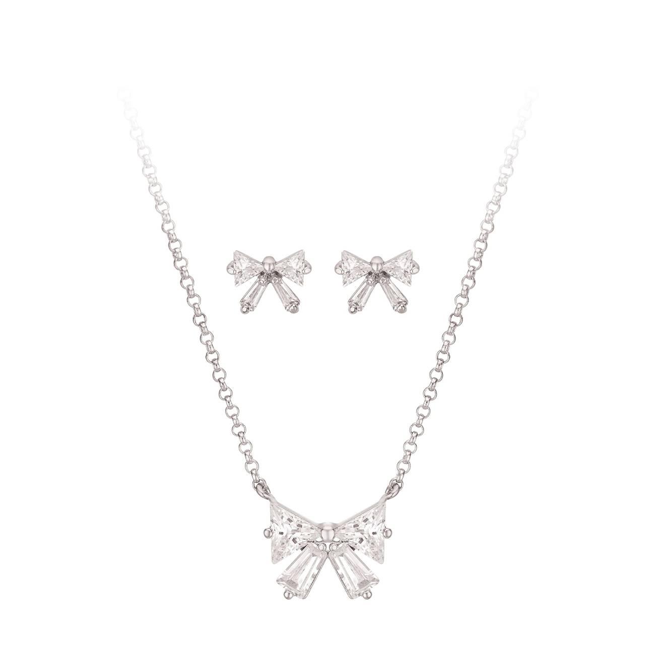 Bow Pendant & Earring Gift Set CZS747 imagine produs