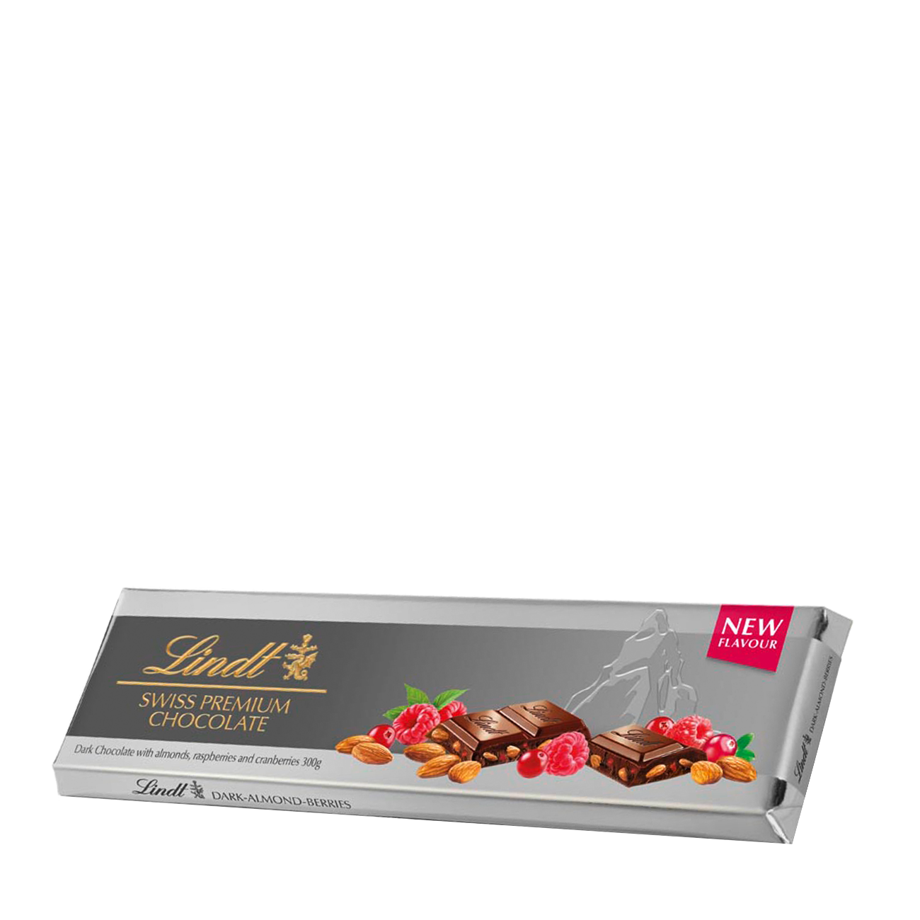 SILVER TABLET DARK CHOCOLATE WITH ALMONDS, RASPBERRIES AND CRANBERRIES 300gr