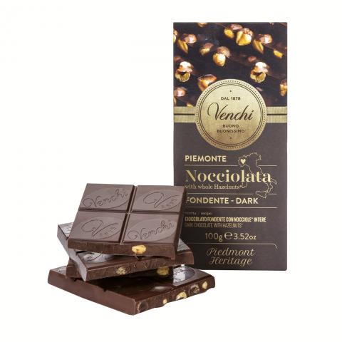 Venchi DARK CHOCOLATE WITH HAZELNUT BAR Tablete