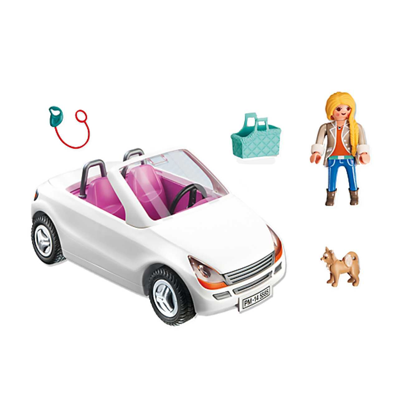 CONVERTIBLE WITH WOMAN AND PUPPY