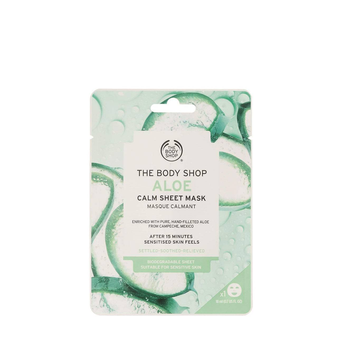 Aloe Calm Sheet Mask 18ml The Body Shop imagine 2021 bestvalue.eu