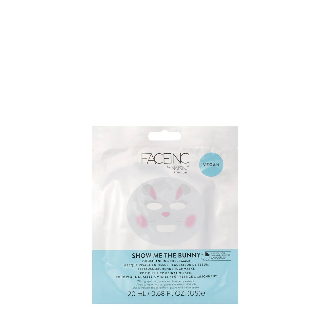 Show Me The Bunny Oil Balancing Sheet Mask 20 Ml FACEINC imagine 2021 bestvalue.eu