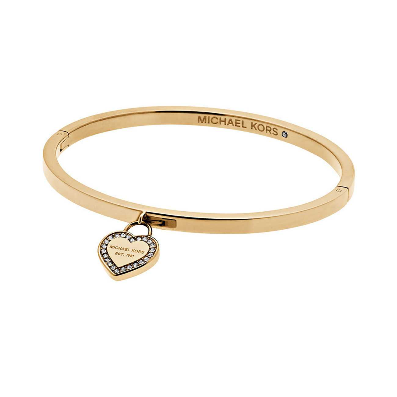 Gold-Tone Logo Heart Bangle