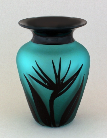 Correia Art Glass Vase Teal Black Bird Of Paradise Vase By