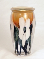 David Lotton - White Floral Sunset Paperweight Vase