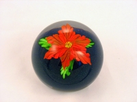 Mayauel Ward - Paperweight - Red Flower on Black