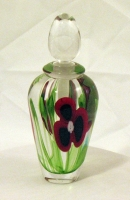 Abelman Perfume Bottle: Red & Black Floral with Green Foliage