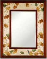 Hudson River Inlay - Ginko Leaves Medium Border Mirror - HRI-762