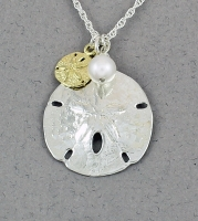 Betsy Frost - Sand Dollar with Gold Sand Dollar and Pearl Decorations PS-S&LV