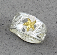 Betsy Frost - Coral Reef Ring with Gold Sea Star RCORAL