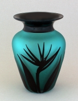Correia Art Glass - Vase - Teal & Black Bird of Paradise Vase