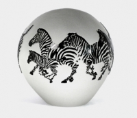Correia Art Glass - Paperweight - Zebra Design