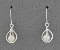Betsy Frost - Caged Pearl Earrings - Small - E208