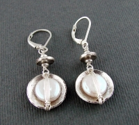 J & I Sterling Silver Earrings with Coin Pearls - DPX21E