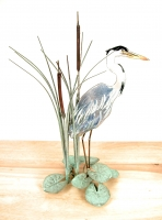 Bovano - T17R - Heron (facing right) in Cattails Tabletop Sculpture
