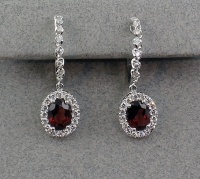 Michael Chang - Garnet & Diamond Hoop Earrings MC-12152-13