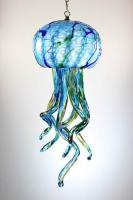 Opal Art Glass - Lamp - Jellyfish - Aqua