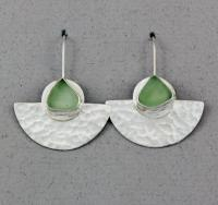 Oceano Sea Glass: Silver Earrings with Sea Glass - Half Moon Earrings