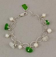 Oceano Sea Glass: Silver Charm Bracelet with Pearls, Green and White Sea Glass