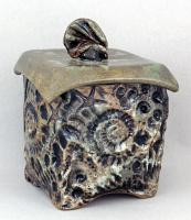 Dirty Dog Pottery: Jar - Green Square Fossil with Lid