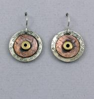 Joanna Craft - Earrings: Sterling Silver, Copper and Brass - E40