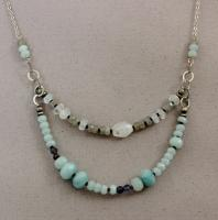 J & I - Sterling Silver Necklace with Amazonite, Labradorite & Moonstone - AMT501N