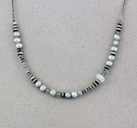 J & I Sterling Silver Necklace with Labradorite, Moonstone and Pearls - FGP3N
