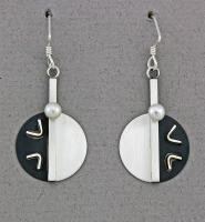 Mar of Santa Barbara: Oxidized Sterling Silver Earrings - 779