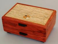 Mikutowski Woodworking 1 Drawer Jewelry Chest: Bubinga, Tamo Ash & Wenge & Inlay Medallion MM17