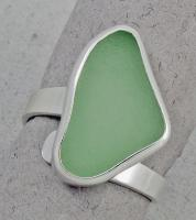Oceano Sea Glass: Silver Ring with Bezel Set Soft Green Sea Glass