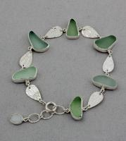Oceano Sea Glass: Silver Bracelet with Jadeite Sea Glass and Opal