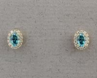 Stanton Color - Blue Zircon & Diamond Earrings SC- 18255-11