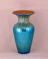 Lundberg Studios - Blue Luster Ribbed Small Vase