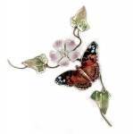 Bovano - B83 - American Painted Lady Butterfly on Wild Rose