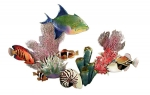 Bovano - W1623 - Large Coral Reef Scene with Queen Triggerfish and Nautilus Shell - W1623