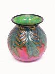Daniel Lotton - Pink Coral Leaf and Vine Bowl with Green Interior