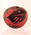 Correia Art Glass - Vase - Ruby & Black Leaf Closed Vase
