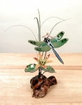 Bovano - FM12 - Green Winged Dragonfly and Flowers Tabletop Sculpture